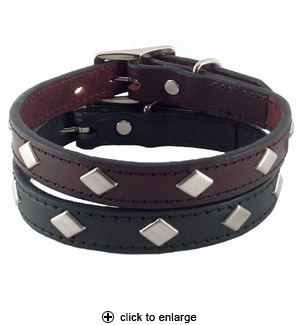 Hamilton Diamond Leather Dog Collar 3/4