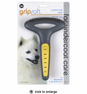 JW Pet GripSoft Undercoat Rake with Double Row Teeth for Dogs