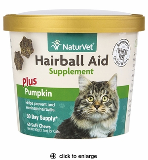NaturVet Hairball Aid Plus Pumpkin Cat Soft Chews 60ct