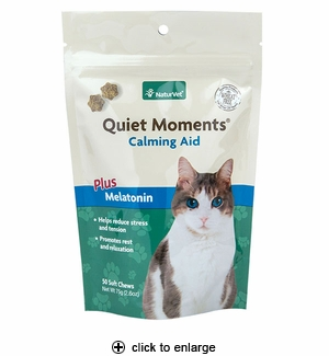 NaturVet Quiet Moments Calming Aid Plus Melatonin Cat Soft Chews 50ct