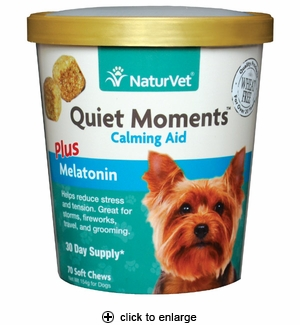 NaturVet Quiet Moments Calming Aid Plus Melatonin Soft Chews 70ct