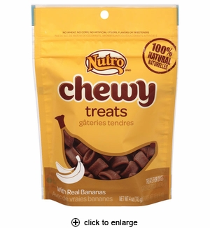 Nutro Chewy Treats with Real Bananas for Dogs 4oz