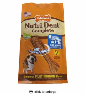 Nylabone Nutri Dent Dental Chews Filet Mignon Medium 7ct