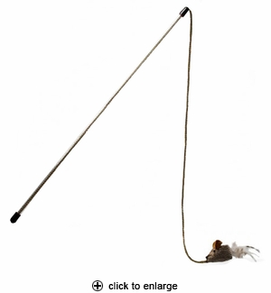 Our Pet's Play-N-Squeak Tethered & Feathered Play Wand