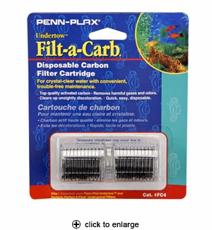Penn-Plax Undertow Filt-A-Carb Disposable Carbon Cartridge 2pk. #FC-4