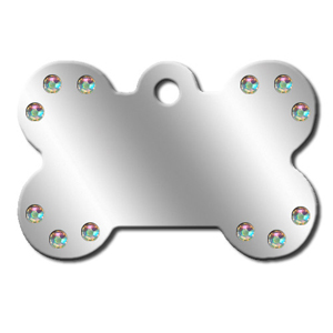 Pet ID Tag - Diva Chrome Bone w/ Aurora Stones