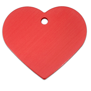 Pet ID Tag - Heart Large Red