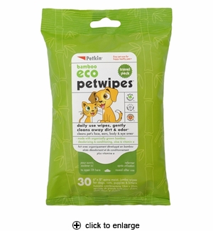 Petkin Bamboo Eco Pet Wipes Travel Pack 30ct