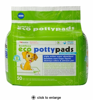 Petkin Bamboo Eco Potty Pads for Dogs 50ct