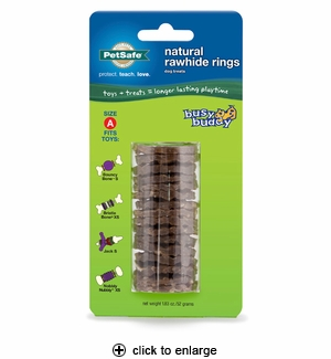 PetSafe Busy Buddy Natural Rawhide Rings Size A 16pk