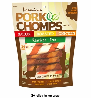 Pork Chomps Assorted Twist Dog Treats Large 24pk