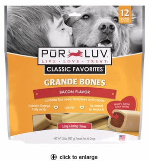 Pur Luv Grande Bones for Med & Large Dogs Bacon 2 lbs