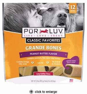 Pur Luv Grande Bones for Med & Large Dogs Peanut Butter 2 lbs
