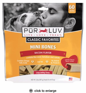 Pur Luv Mini Bones for Small Dogs Bacon 2 lbs