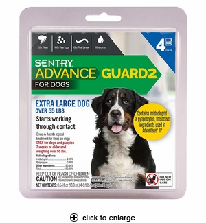 Sentry Advance Guard 2 for Extra Large Dogs Over 55 lbs, 4pk