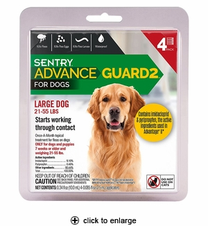 Sentry Advance Guard 2 for Large Dogs 21-55 lbs, 4pk