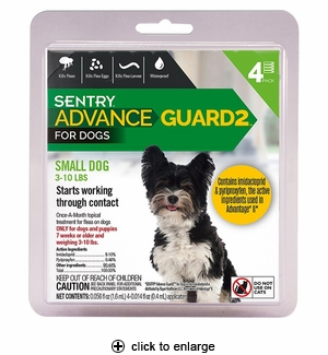 Sentry Advance Guard 2 for Small Dogs 3-10 lbs, 4pk
