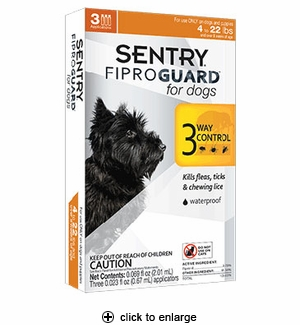 Sentry FiproGuard Flea & Tick Control for Dogs up to 22 lbs 3pk