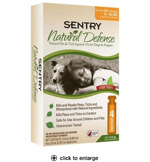Sentry Natural Defense Flea & Tick Squeeze-On for Dogs 15-40 lbs 4pk