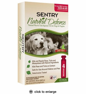 Sentry Natural Defense Flea & Tick Squeeze-On for Dogs Over 40 lbs 4pk