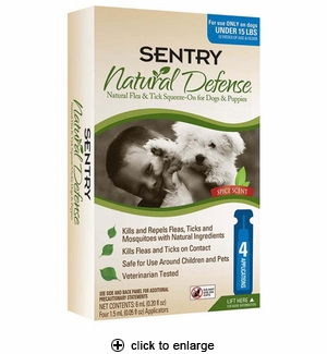 Sentry Natural Defense Flea & Tick Squeeze-On for Dogs Under 15 lbs 4pk