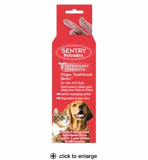 Sentry Petrodex Finger Toothbrush Glove for Dogs & Cats 5ct