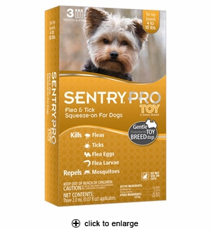 SentryPro Flea & Tick Squeeze-On for Toy & Sm Dogs 3pk