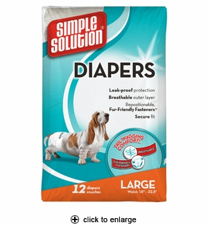 Simple Solution Disposable Dog Diapers Large 12pk