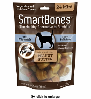 SmartBones Peanut Butter Dog Chew Mini 24pk