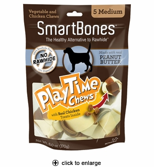 Smartbones Playtime Peanut Butter Dog Chew Medium 5pk