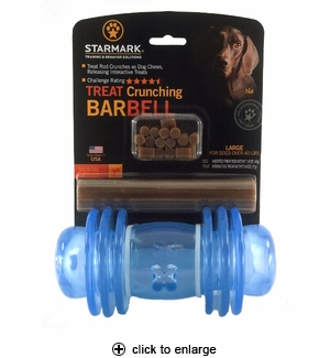 Starmark Treat Crunching Barbell Dog Toy Large