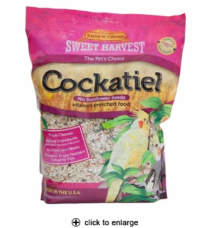 Sweet Harvest Cockatiel Food No Sunflower Seeds 2 lbs