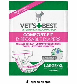 Vet's Best Comfort-Fit Disposable Dog Diapers Large/X-Large 12pk