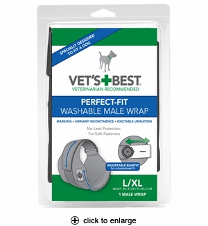 Vet's Best Perfect-Fit Washable Male Dog Wrap LG/XL