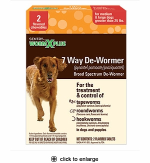 WormX Plus 7 Way De-Wormer for Medium & Large Dogs 2ct