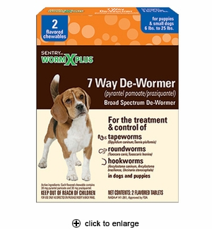 WormX Plus 7 Way De-Wormer for Puppies & Small Dogs 2ct