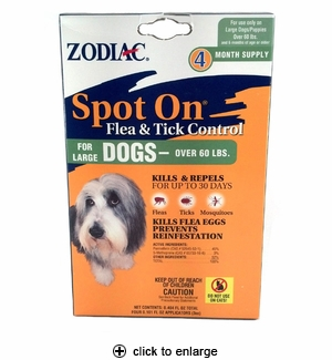 Zodiac Spot-On Flea & Tick Control for Dogs Over 60 lbs, 4pk