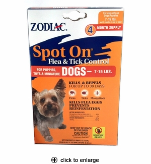 Zodiac Spot-On Flea & Tick Control for Dogs & Puppies 7-15 lbs, 4pk
