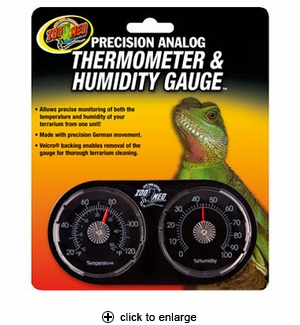 Zoo Med Dual Reptile Thermometer & Humidity Gauge