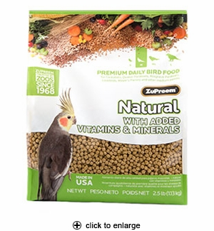ZuPreem Natural Premium Bird Food Pellets Medium 2.5 lbs