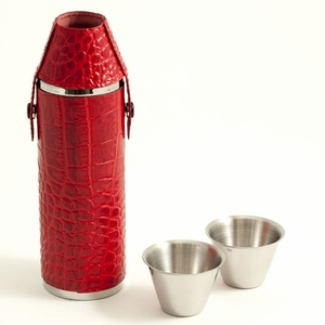 10 oz. Stainless Steel Red Croco Leather Flask