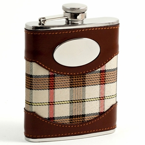 6 oz. Brown Leather & Beige Plaid Flask