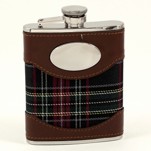 6 oz. Brown Leather & Blue Plaid Flask