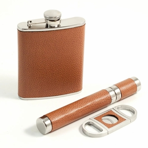 6 oz. Leather Flask, Funnel, Cigar Tube & Cutter