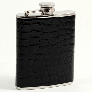 6 oz. Stainless Steel & Black Croco Flask