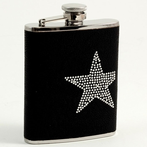 6 oz. Stainless Steel & Black Leather Star Flask