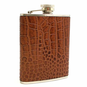 6 oz. Stainless Steel & Brown Croco Leather Flask