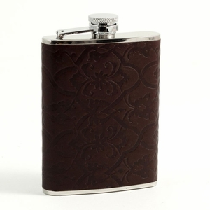 6 oz. Stainless Steel & Brown Leather Flask