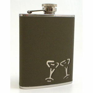 6 oz. Stainless Steel & Leather Martini Flask