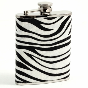 6 oz. Stainless Steel Zebra Design Flask